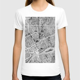 Detroit Michigan City Map T-shirt
