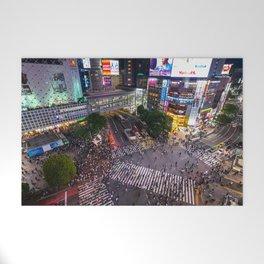 Crowd walking across Shibuya crossing in Tokyo, Japan Welcome Mat