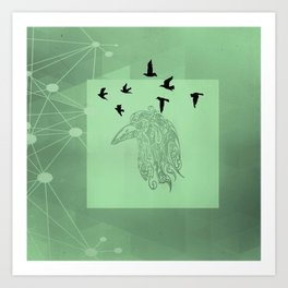 Tribal Raven: Green Art Print
