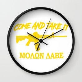Come and Take It! Molon Labe! Gold in Greek. Wall Clock