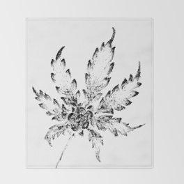 Black & White (Cannabis Resin Leaf) Throw Blanket