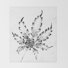 Black & White (Cannabis Resin Leaf) Throw Blanket