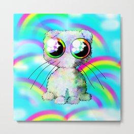 curly kawaii pet on rainbow and cloud background Metal Print