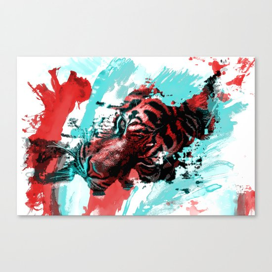 Tiger blue red 4 Canvas Print