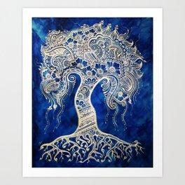 Blues Tree of Life Henna Mehndi Print Art Print