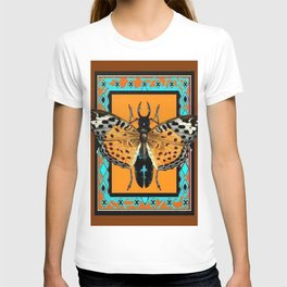 WESTERN COFFEE BROWN-TURQUOISE  BUTTERFLY & BEETLES ART T-shirt