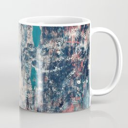028: a vibrant abstract design in blue teal pink and peach by Alyssa Hamilton Art Coffee Mug