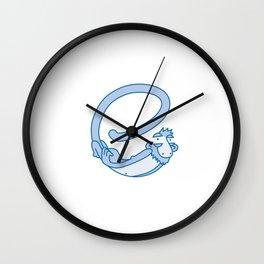 Lowercase e, no border Wall Clock
