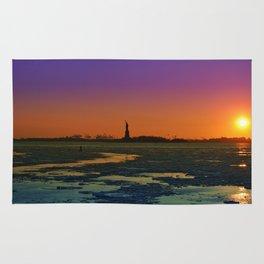Statue of Liberty. Winter evening Rug