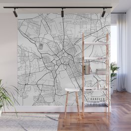 Hanover Map, Germany - Black and White Wall Mural