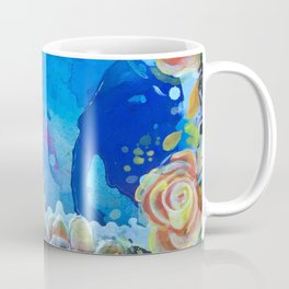 Mad Lucy's Golden Roses. Yellow Roses and Galaxy Blue. Coffee Mug