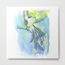 Watercolor illustrations. The girl - a bird of happiness. Metal Print