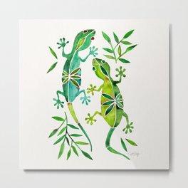 Geckos – Green Palette Metal Print