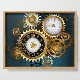 Two Steampunk Clocks with Gears Serving Tray