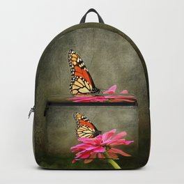 Monarch Butterfly and Pink Zinnia Backpack