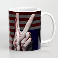 house of cards Mugs featuring House of Cards Victory Fingers Mug by Pablo Napo