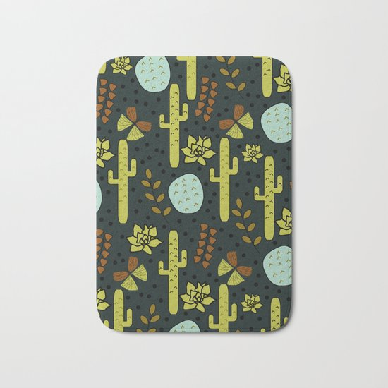 Cacti and butterflies at night Bath Mat