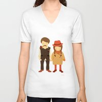 thanksgiving V-neck T-shirts featuring Thanksgiving Happiness by Elena Kouvaros