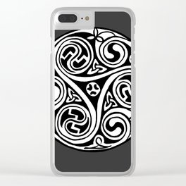 Celtic Art - Triskele - on Grey Clear iPhone Case