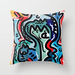 Life Energy Pop Art Graffiti Abstract Design Throw Pillow
