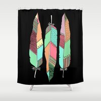 feathers Shower Curtains featuring Feathers by nessieness