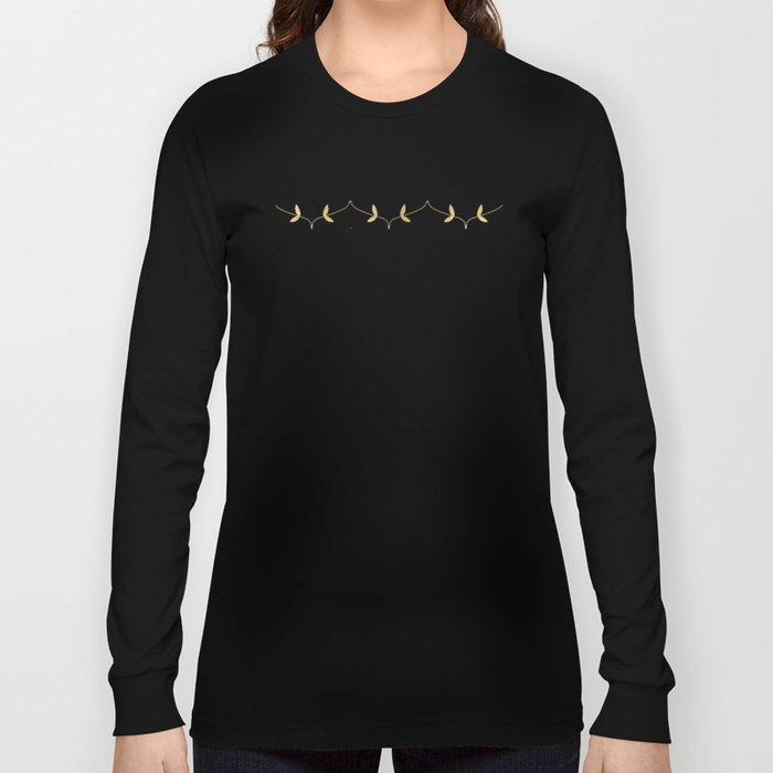 Gold Leaves Pattern Long Sleeve T-shirt