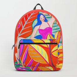 Girl and Colorful Leaves Backpack