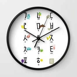 Korean (Hanguel/Hangul) illustration Poster Wall Clock