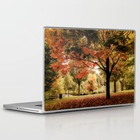 wes anderson Laptop & iPad Skins featuring Red Maple in Larz Anderson park. by LudaNayvelt