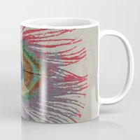 peacock feather Mugs featuring Peacock Feather by Michael Creese