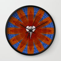 om Wall Clocks featuring Om by emscrazy8