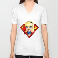 supergirl V-neck T-shirts featuring Chibi Supergirl by artwaste