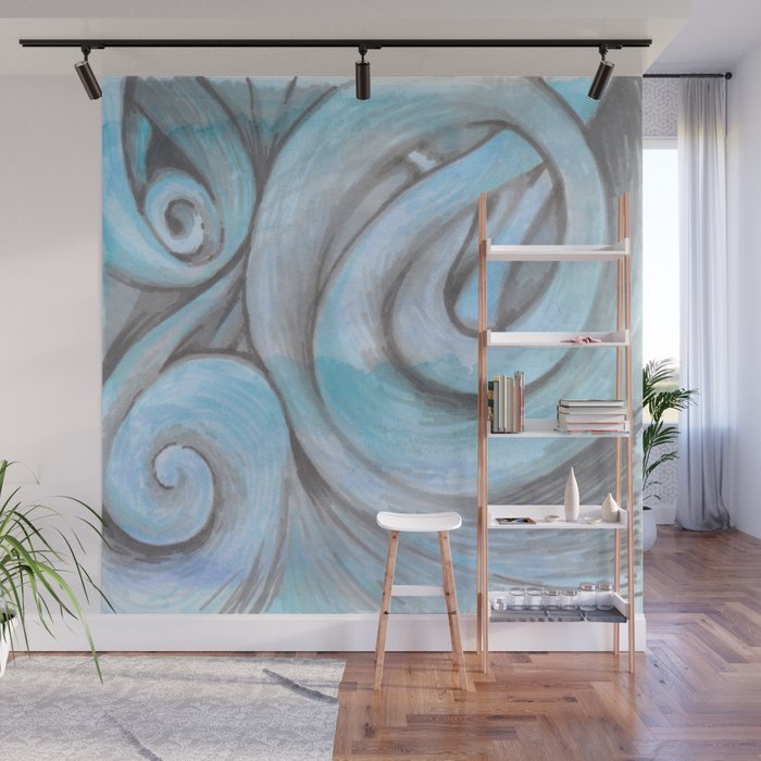 swirl (light blue) Wall Mural