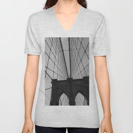 Brooklyn Bridge Black and White Unisex V-Neck