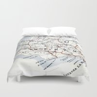 jamaica Duvet Covers featuring Map Section: Jamaica by Shaunia McKenzie