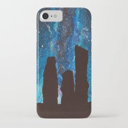 Outlander Craigh Na Dun Standing Stones Watercolor Painting with milky way galaxy iPhone Case