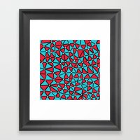 African Triangles Red and Blue Framed Art Print
