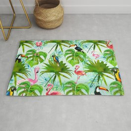 Tropical green pink colorful birds watercolor floral Rug