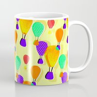 hot air balloons Mugs featuring Hot Air Balloons (Yellow) by Ingrid Castile
