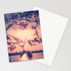 To Love and Be Loved (Spring Pink Cherry Blossoms at Dusk) Stationery Cards