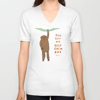 sloth V-neck T-shirts featuring Sloth by Lovisa Valentino