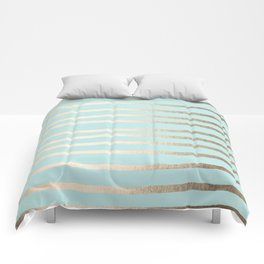 Simply Drawn Stripes White Gold Sands on Succulent Blue Comforters