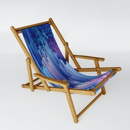 Beglitched Waterfall - Abstract Pixel Art Sling Chair