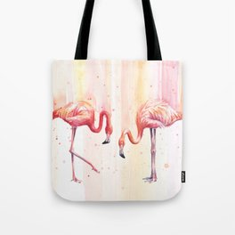 Two Flamingos Watercolor Tropical Birds Animals Tote Bag