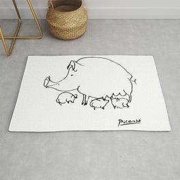Pablo Picasso Pig Drawing, Lines Sketch, Animals Artowork, Men, Women, Kids, Tshirts, Posters, Print Rug