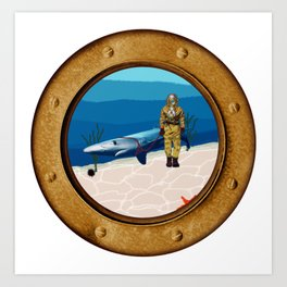Walking The Shark Art Print
