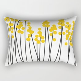 Hello Spring! Yellow/Black Retro Plants on White #decor #society6 #buyart Rectangular Pillow