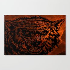 angry wolf fire Canvas Print