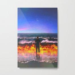 Burning The Sea Metal Print