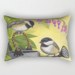 Chickadees and Old Watering Can Rectangular Pillow